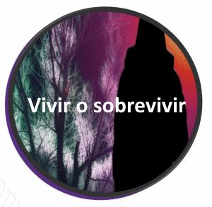 ramas de árboles con sombra al frente y texto vivir o sobrevivir