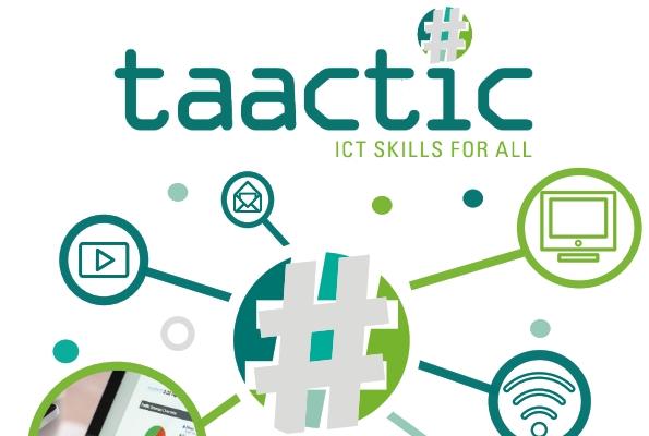 logo del proyecto taactic con varios iconos vinculados a la tecnología