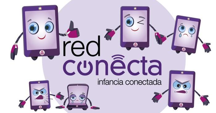 Imagen con el título del proyecto: Red Conecta. Infancia Conectada. Rodeado con diferentes tabletas personalizadas, que expresan distintas emociones