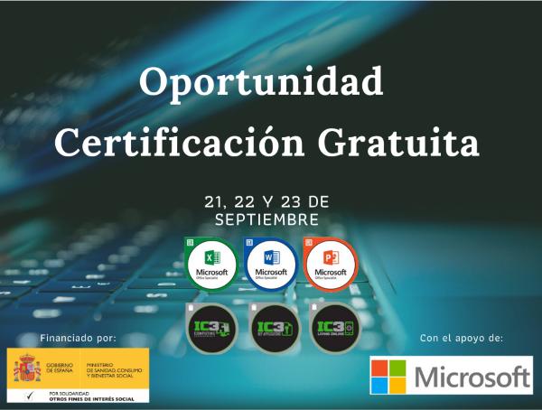 Teclado de ordenador y encima las insignias de las certificaciones MOS e IC3
