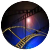 cinta de cine con destello en el centro