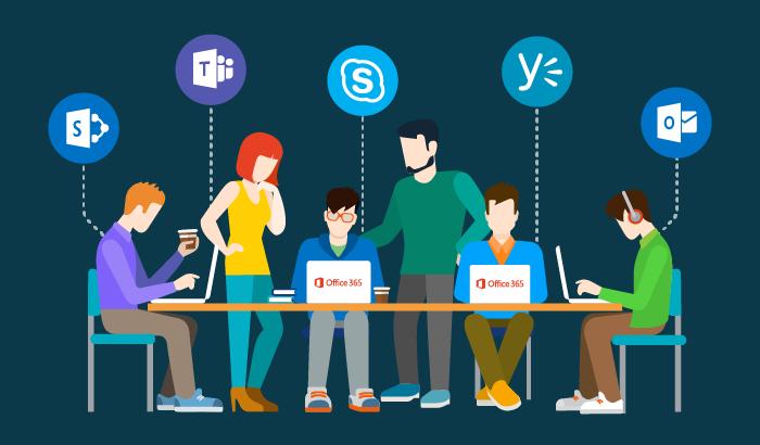 gráfico con varias personas trabajando en portátiles con apps de Microsoft
