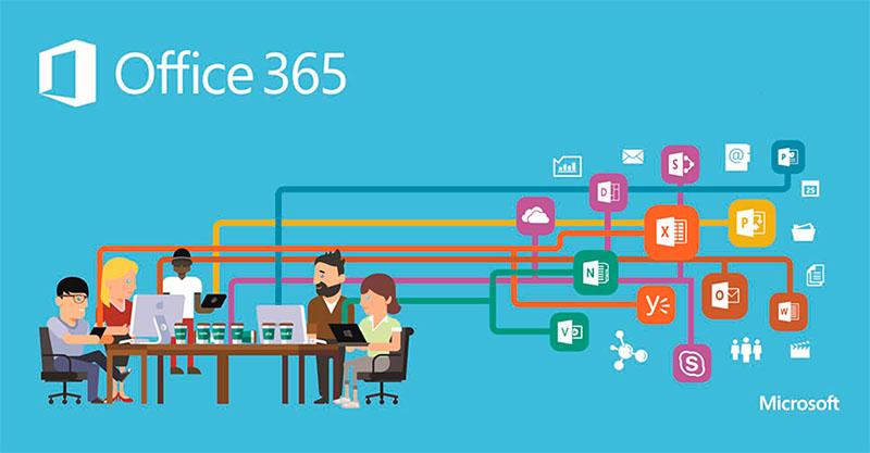 grupo de personas dibujadas ante una mesa con ordenadores que enlazan con los iconos de las apps de office365