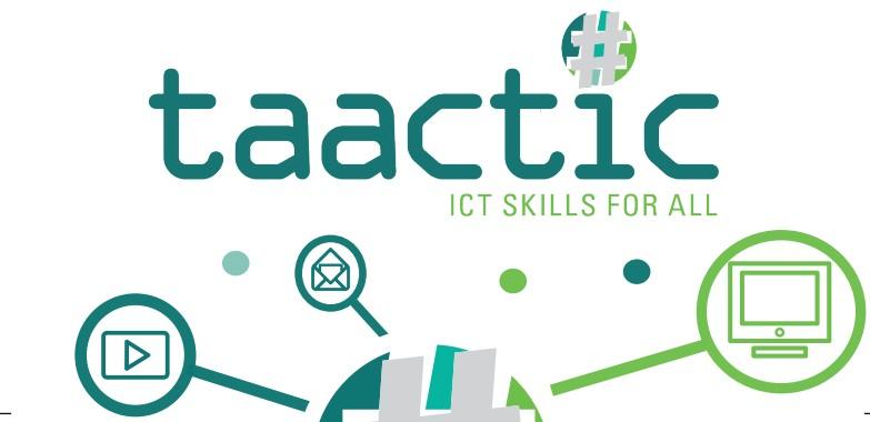 logo proyecto taactic con el lema ICT skills for all y varios iconos relacionados con lo digital