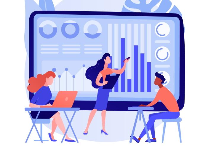 ilustración con una pantalla gigante con gráficos de datos y 2 chicas y un chico trabajando